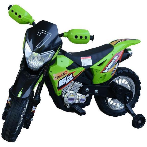 Moto cross elettrica per bambini 6v forcez verde benzoni