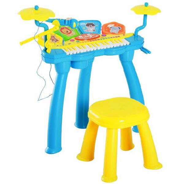 Set batteria e pianoforte giocattolo per bambini blu e