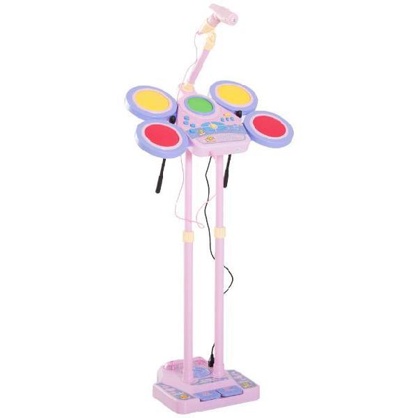 Set batteria giocattolo per bambini con microfono rosa