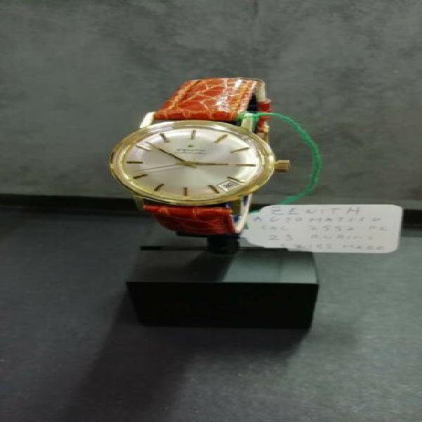 Zenith laminato oro con cinturino marrone orologio vintage
