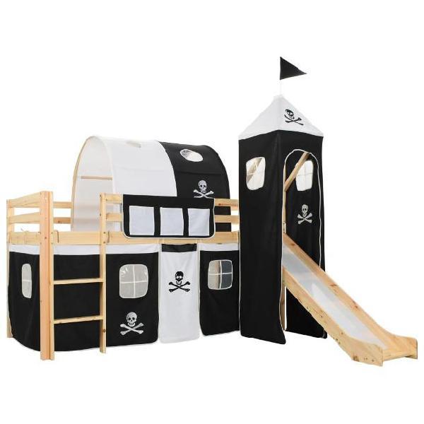 Vidaxl letto a castello per bambini scivolo e scala in pino