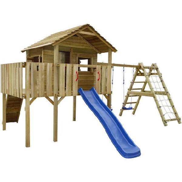 Vidaxl set da gioco da esterno casetta legno con accessori