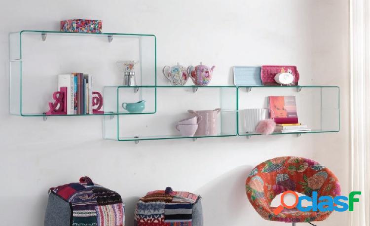 Set di 6 mensole in vetro curvato trasparente