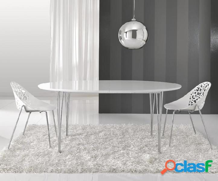 Tavolo ovale ellittico allungabile moderno bianco