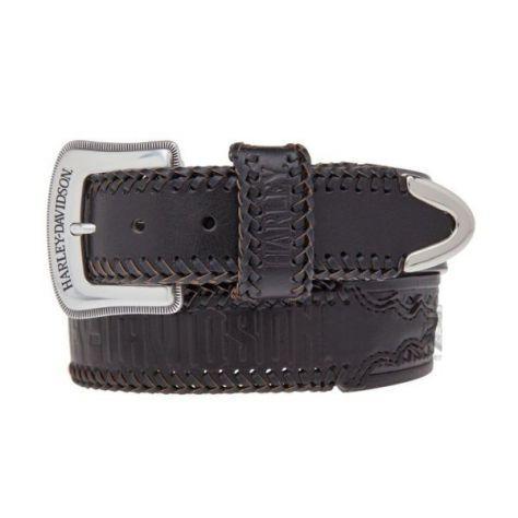 Cintura pelle uomo orig. harley davidson dakota woven belt