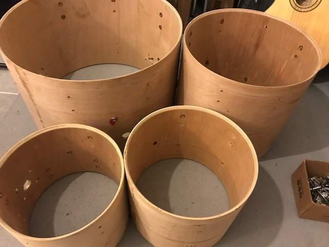 Fusti legno multistrato da drum set vintage 1970