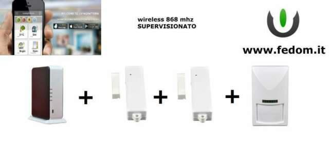 Kit allarme fedom aa02 wireless 868 mhz sensore infrarossi