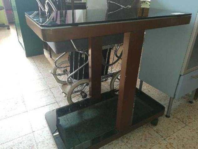 Porta tv 2 piani vetro strutt legno