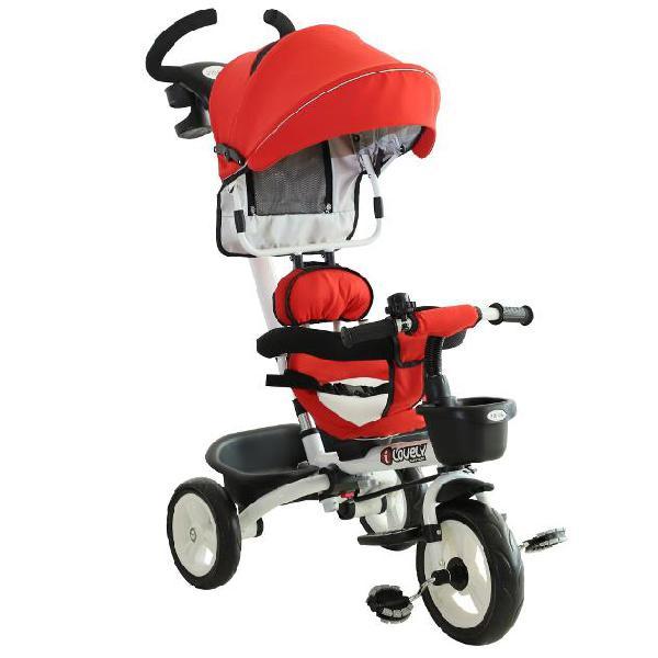 Passeggino triciclo per bambini con maniglione tetto