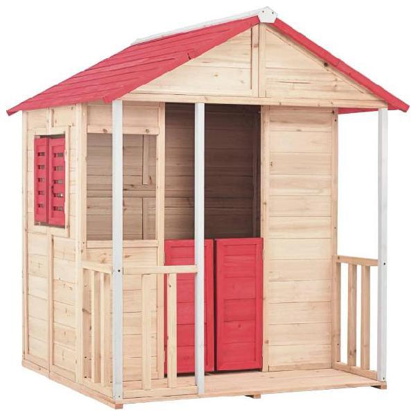 Vidaxl casetta dei giochi per bambini in legno rossa