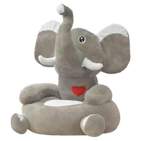 Vidaxl poltrona in peluche per bambini elefante grigio