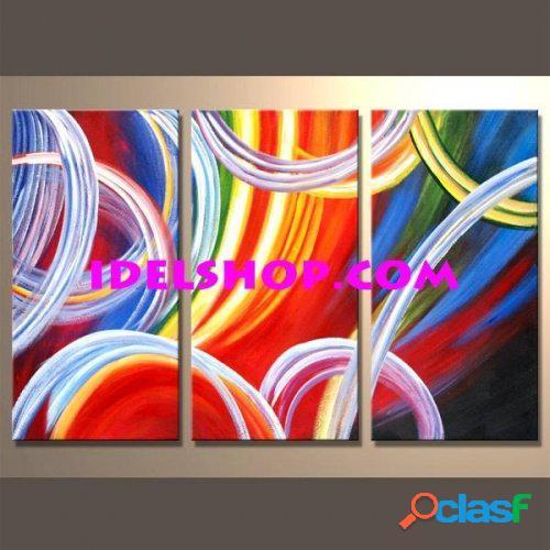 3 quadri dipinti a mano astratti multicolor