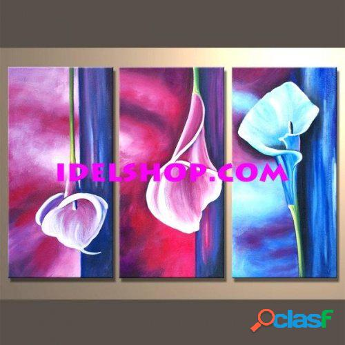 3 quadri moderni dipinti a mano calle colorate