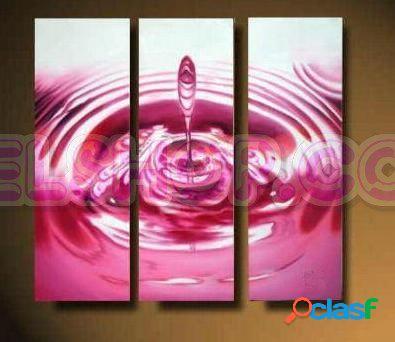 3 quadri moderni dipinti a mano goccia rosa