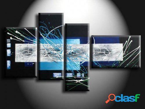 4 quadri moderni dipinti a mano azzurro e nero