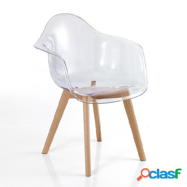 4 sedie poltroncine trasparenti zampe in legno massello