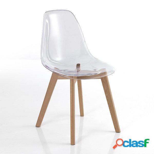 4 sedie trasparenti zampe in legno massello