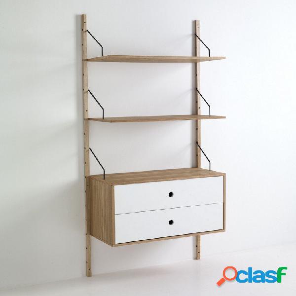 Libreria scaffale da parete in legno con 2 cassetti