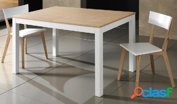 Tavolo rettangolare allungabile bicolore in legno