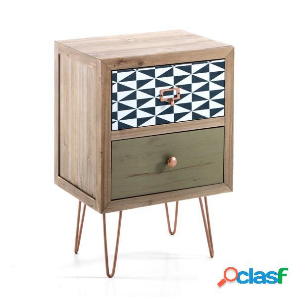 Comodino vintage 2 cassetti in legno massello