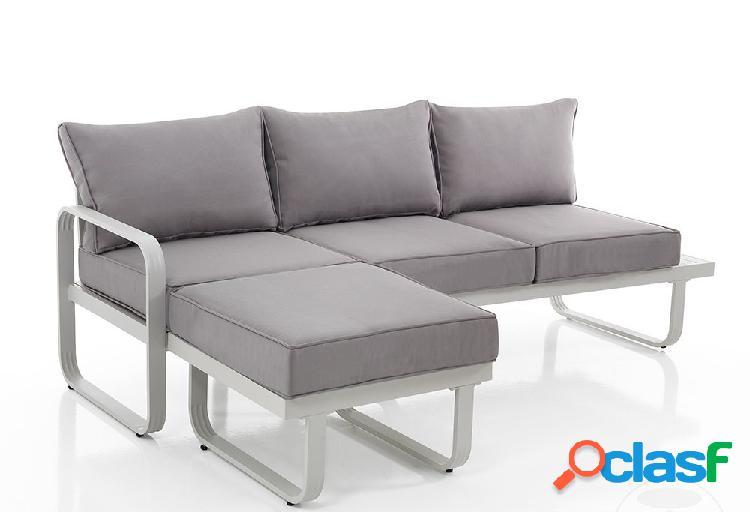 Divano angolare da esterno in alluminio con cuscini