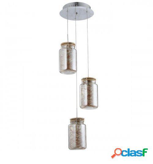 Lampadario sospensione 3 barattoli in vetro con tappo