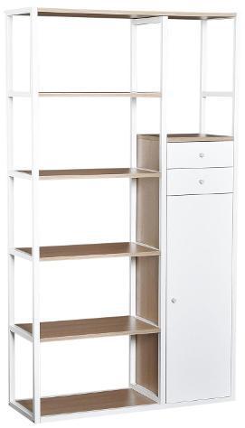 Libreria 6 ripiani con 2 cassetti e armadietto in acciaio e