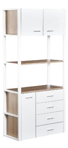Libreria armadio 2 ripiani 4 cassetti in acciaio e legno