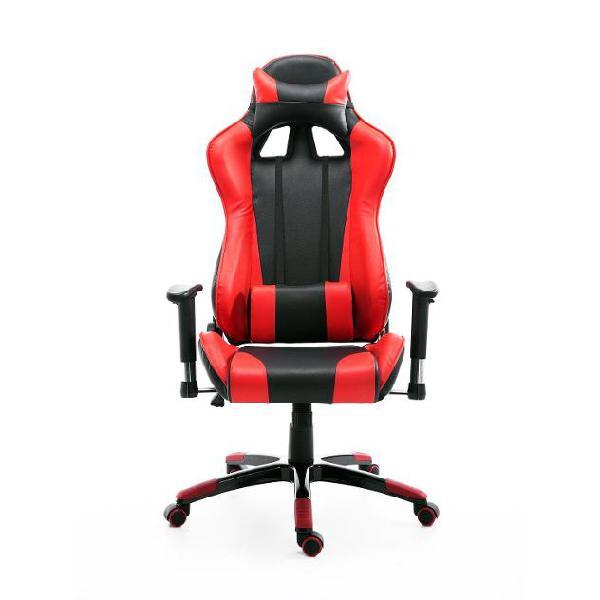 Sedia da gaming in ecopelle con sostegno lombare collo nera