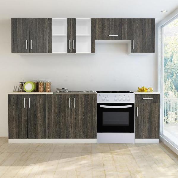 Vidaxl armadi cucina set 7 pz con forno autoportante wenge