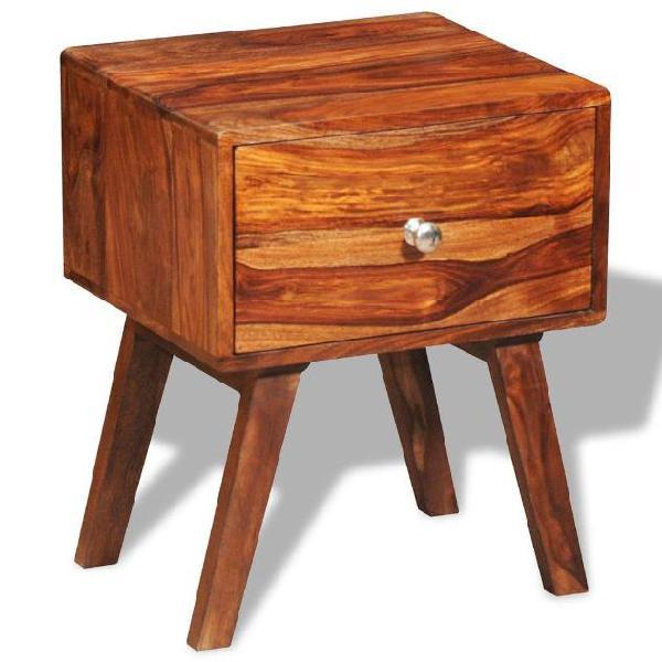 Vidaxl comodino con 1 cassetto 55 cm in legno massello di