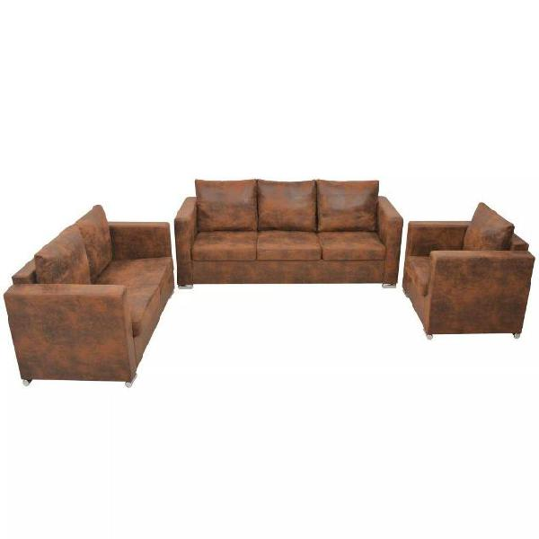 Vidaxl divani set 3 pz in pelle scamosciata artificiale