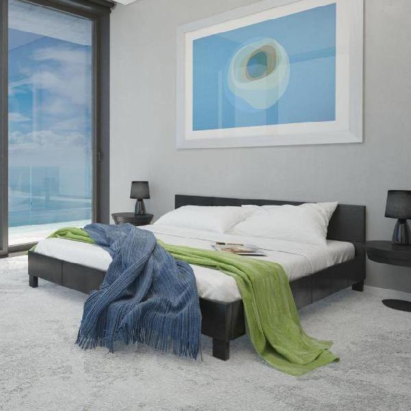 Vidaxl letto ecopelle nero 140 cm con materasso e