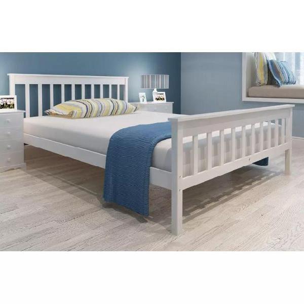 Vidaxl letto in legno di pino bianco 200 x 140cm + materasso