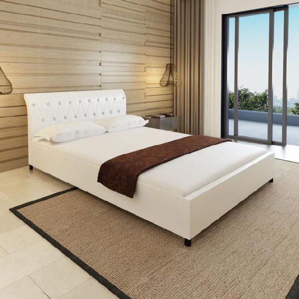Vidaxl letto pelle 140 x 200 cm bianco trapuntato materasso