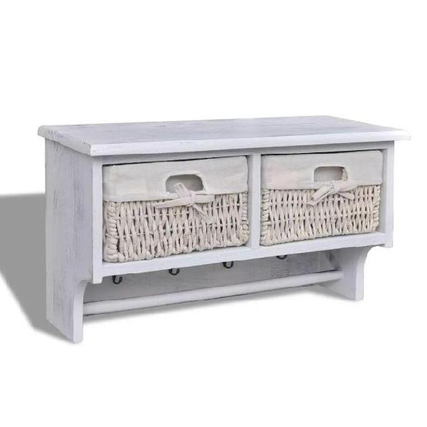 Vidaxl mensola in legno bianco appendiabiti 2 cesti in