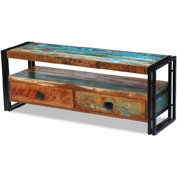 Vidaxl mobile porta tv in legno massello anticato