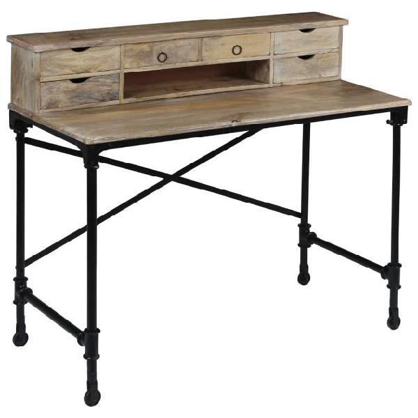 Vidaxl scrivania in legno massello di mango e acciaio