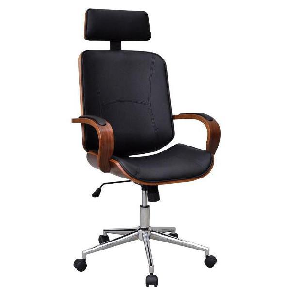 Vidaxl sedia da ufficio girevole in legno curvato ed