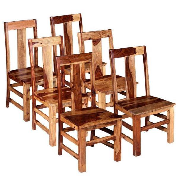 Vidaxl sedie da pranzo set 6 pz in legno massello di