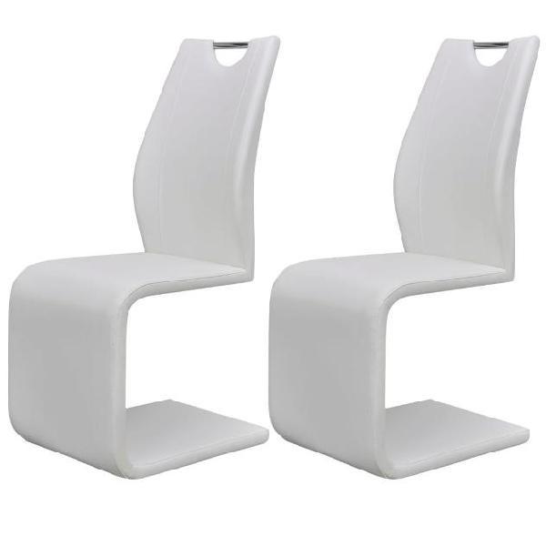 Vidaxl sedie da pranzo a sbalzo 2 pz in pelle artificiale