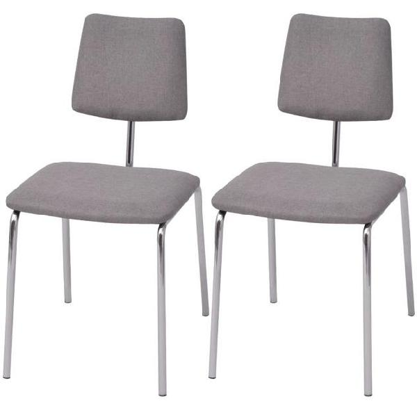 Vidaxl set 2 sedie da tavolo in tessuto grigio