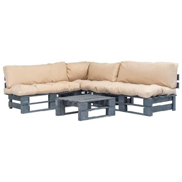 Vidaxl set divani da giardino 4 pz pallet cuscini sabbia in