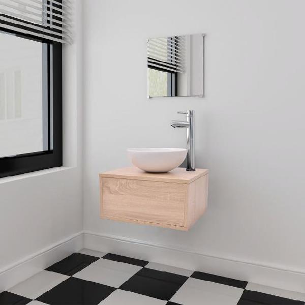 Vidaxl set mobili per bagno con lavandino 4 pz con rubinetto