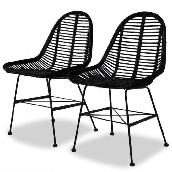 Vidaxl set sedie da pranzo 2 pz in rattan naturale nero