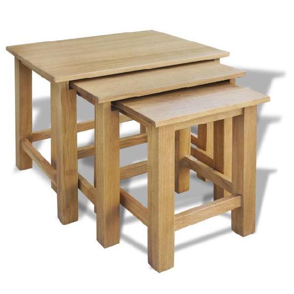 Vidaxl tavolini ad incastro 3 pz. in legno di quercia