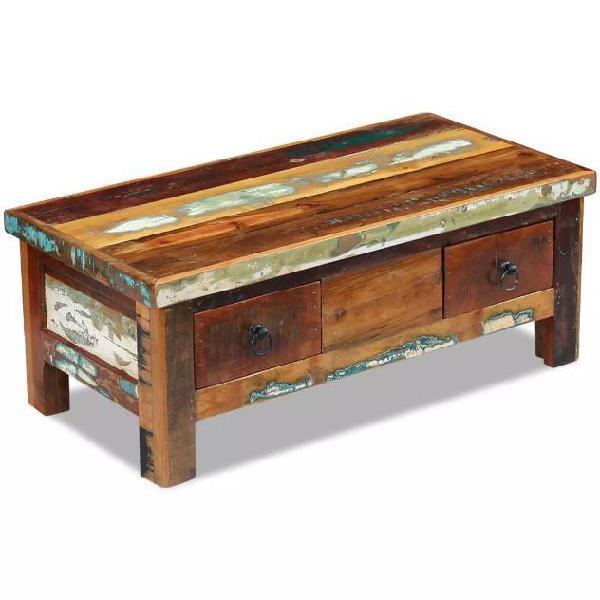 Vidaxl tavolino da caffè con cassetti in legno massello