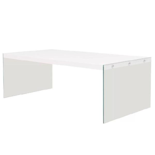 Vidaxl tavolino da caffè in vetro e mdf lucido bianco