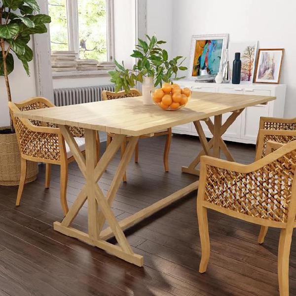 Vidaxl tavolo da pranzo in legno massello di teak 180x90x75