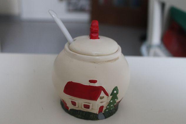 Zuccheriera in ceramica soggetto natalizio